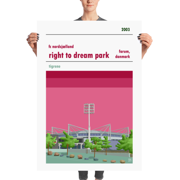 Massive football poster of FC Nordsjælland and the Right to Dream Park