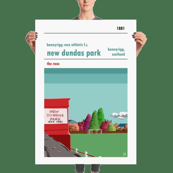 A huge poster of New Dundas Park and Bonnyrigg Rose FC