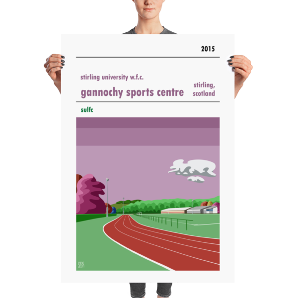 A huge football poster of Gannochy Sports Centre