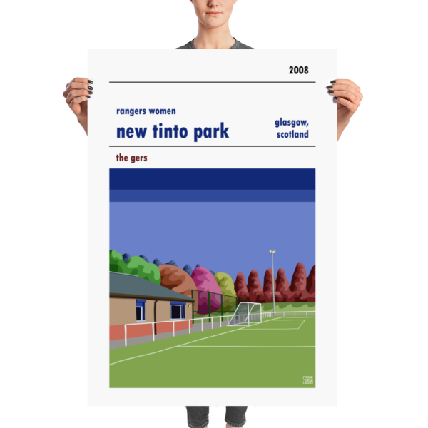 A huge football poster of New Tinto Park and Rangers Women
