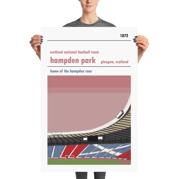 A large football poster of Hampden Park, Glasgow