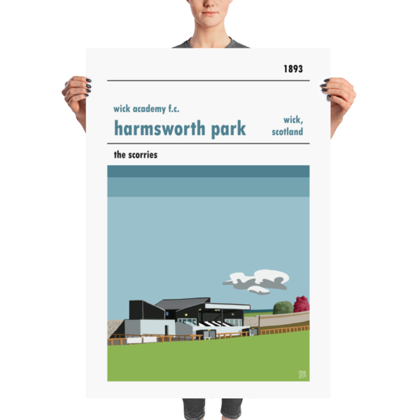 A huge poster of Wick Academy and Harmsworth Park