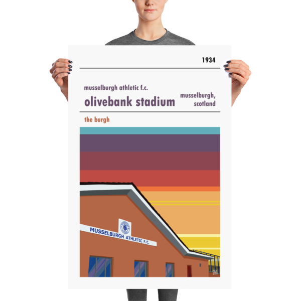 A large print of Olivebank Stadium, home to Musselburgh Athletic FC