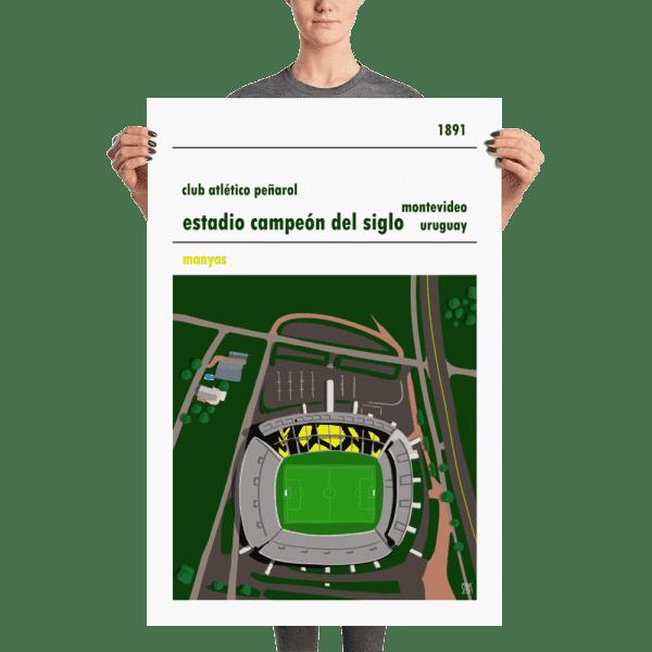 Huge football poster of Peñaro and Estadio Campeón del Siglo