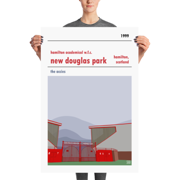 A large stadium poster of New Douglas Park and Hamilton Accies WFC
