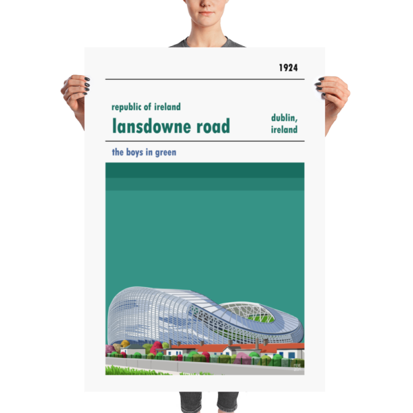 A huge poster of Lansdowne Road