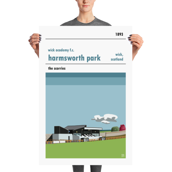 A large stadium print of Wick Academy and Harmsworth Park