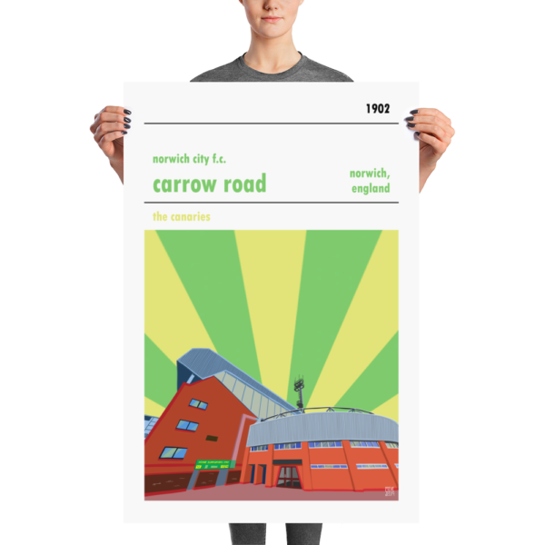 Huge football poster of Carrow Road and Norwich City FC
