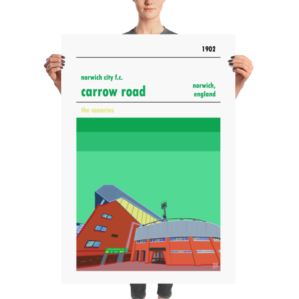 A huge football poster of Carrow Road, home to Norwich City FC