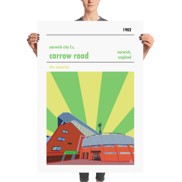 Massive football poster of Carrow Road and Norwich City FC