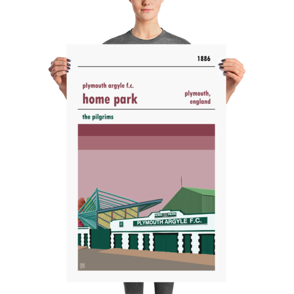 A large football poster of Plymouth Argyll and Home Park