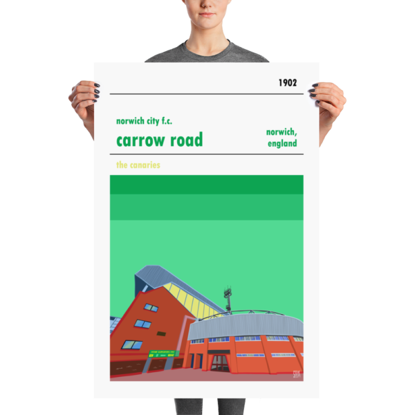A large stadium poster of the Canaries, Norwich City