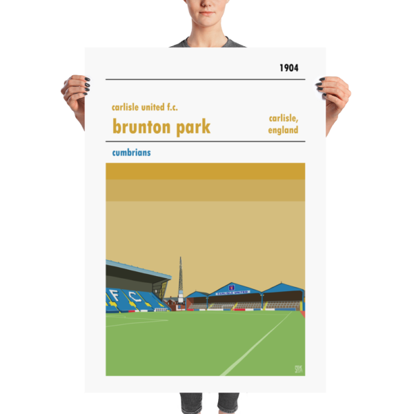 A huge football poster of Carlisle United and Brunton Park