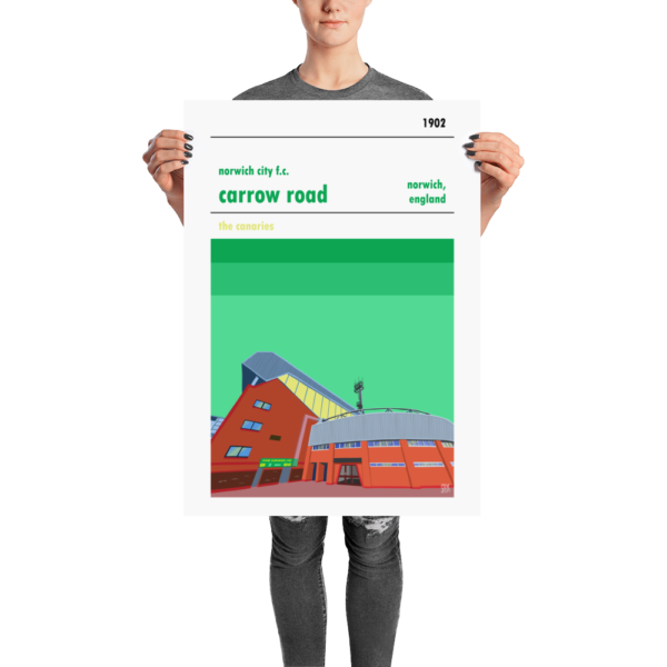 A football poster of Carrow Road, home to Norwich City FC