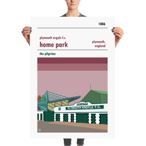 A huge stadium poster of Home Park, home to Plymouth Argyll