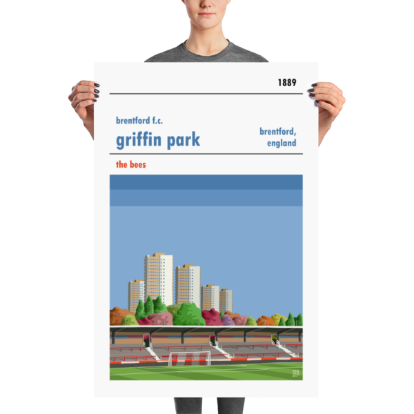 A large stadium print of Brentford FC and Griffin Park