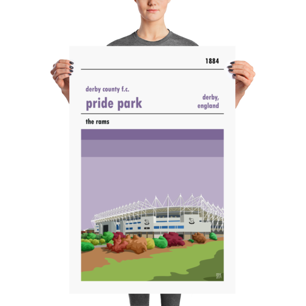 A large stadium poster of Pride Park, home to Derby COunty
