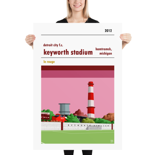 A huge football poster of Detroit City FC and Keyworth Stadium. Le Rouge.