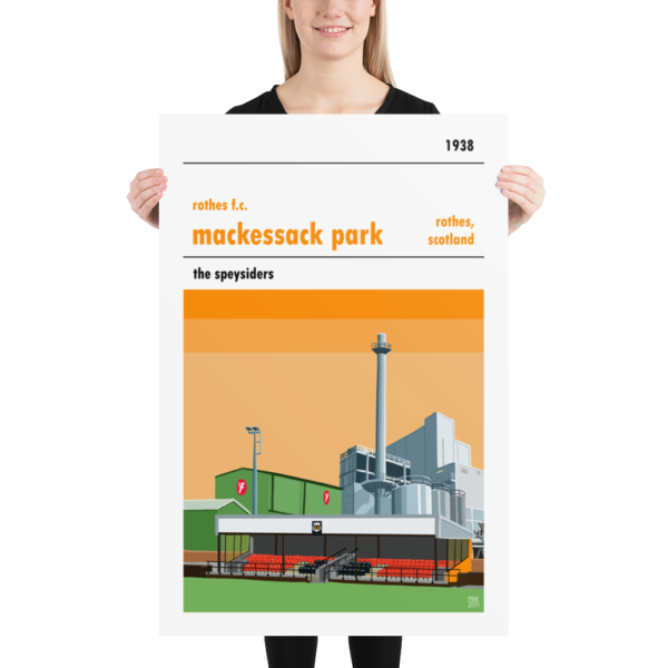 A large football poster of Mackessack Park, home to Rothes FC