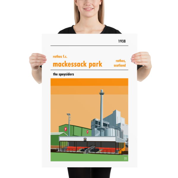 A football poster of Mackessack Park, home to Rothes FC. The Speysiders
