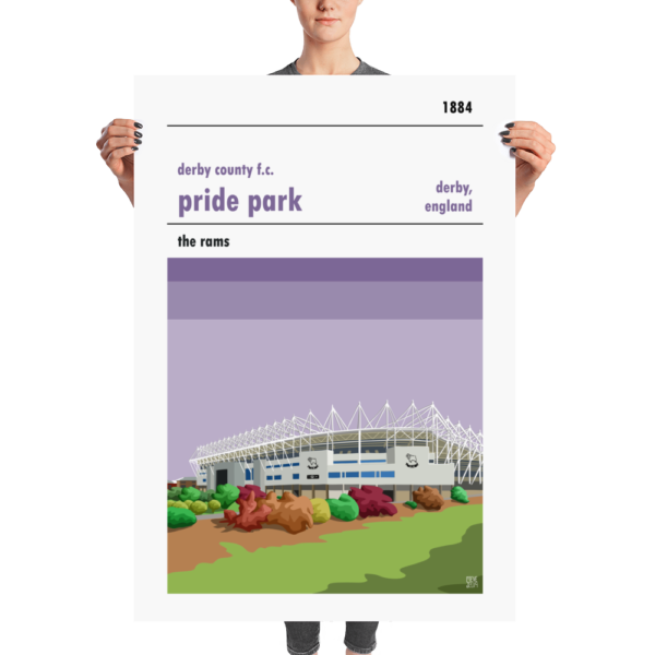 A huge football poster of Pride Park, home to Derby County FC