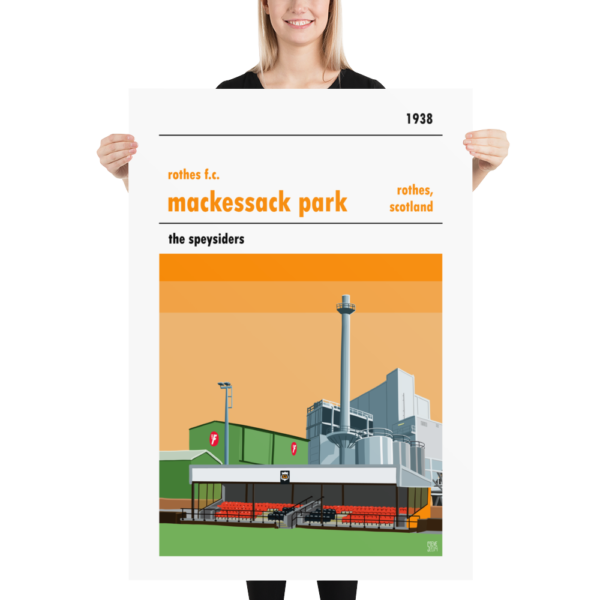 A huge football poster of Rothes FC and Mackessack Park