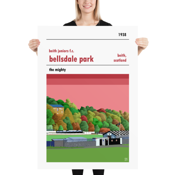 A huge football poster of Beith Juniors and Bellsdale Park
