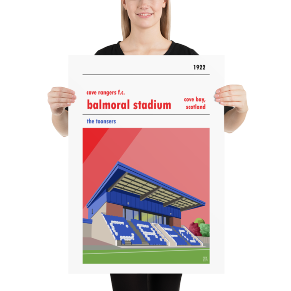 A retro football poster of Cove Rangers, the Toonsers, and this home ground of Balmoral Stadium