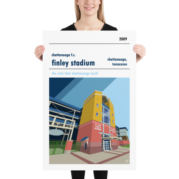 A large football poster of Chattanooga FC and the home field of Finley Stadium