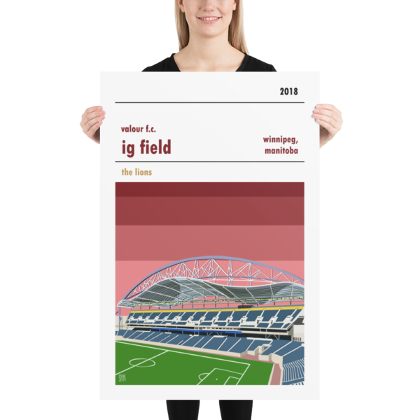 A large football print of IG Field and Valour FC