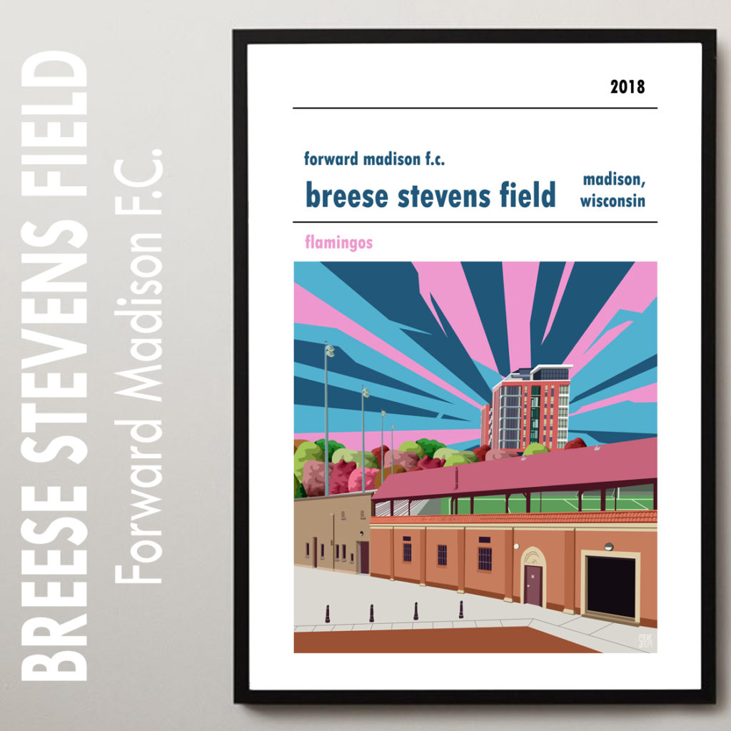 Stadium Wall Art of Breese Stevens Field, home to Forward Madison FC