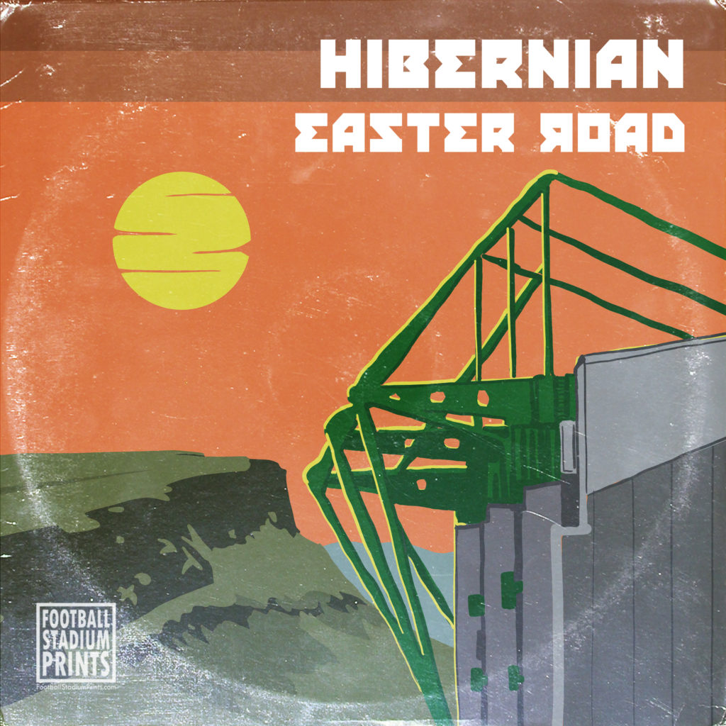 A Limited Edition vintage record sleeve of Easter Road, home to Hibs FC