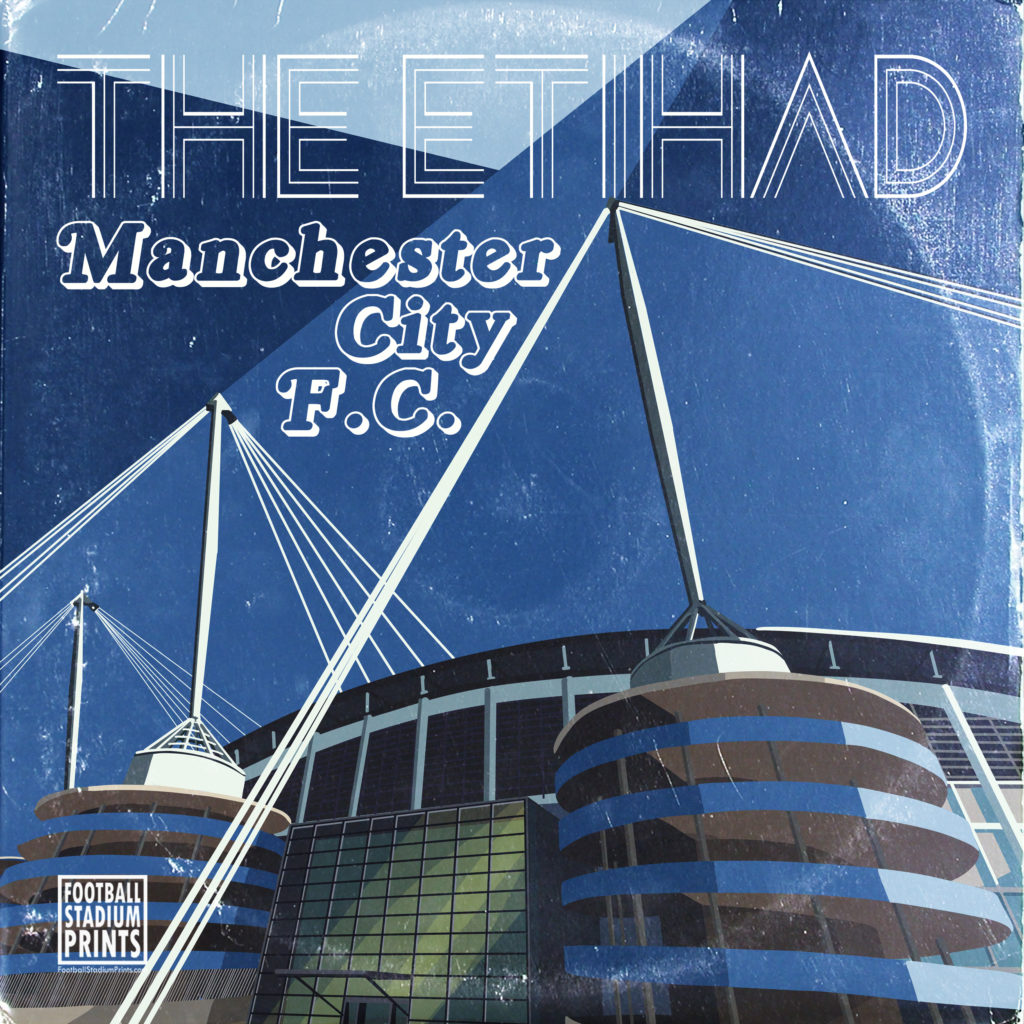 Man City and etihad vintage record sleeve design