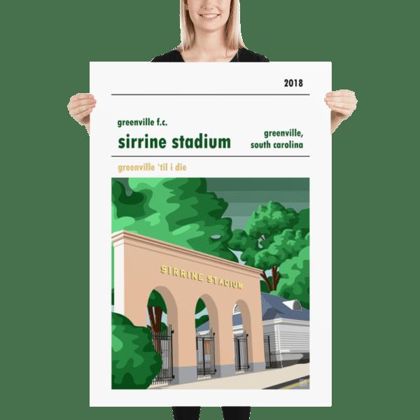 A huge framed stadium wall art print of Sirrine Stadium, home of Greenville FC, South Carolina