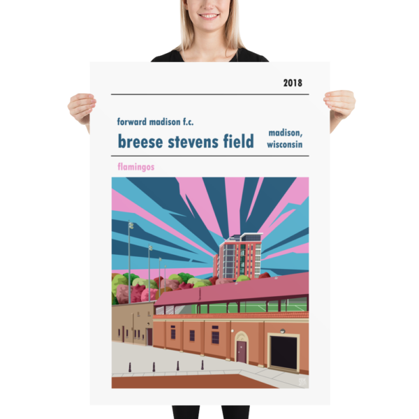 A huge stadium poster of Breese Stevens Field, home to Forward Madison FC, USA