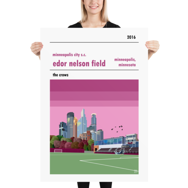 A huge football poster of Edor Nelson Field, home to Minneapolis City SC