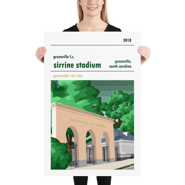 A college football poster of Sirrine Stadium, home to Greenville FC