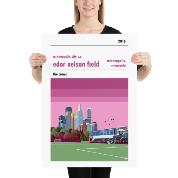 A retro soccer stadium print of Edor Nelson Field, home to Minneapolis City Soccer Club. The Crows.