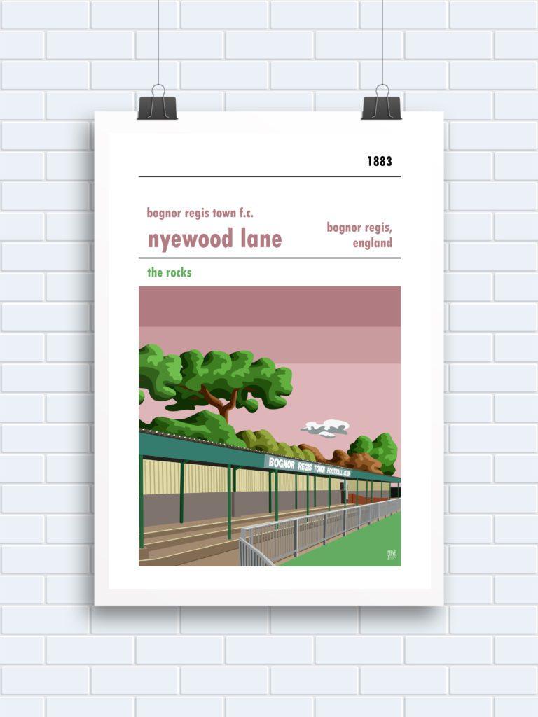 Stadium wall art of Nyewood Lane, home of Bognor Regis Town FC