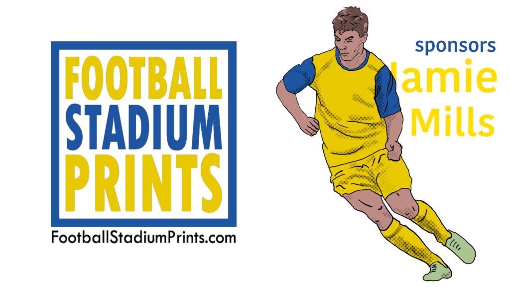 Jamie Mills, the Flash, of BSC Glasgow is sponsored by Football Stadium Prints