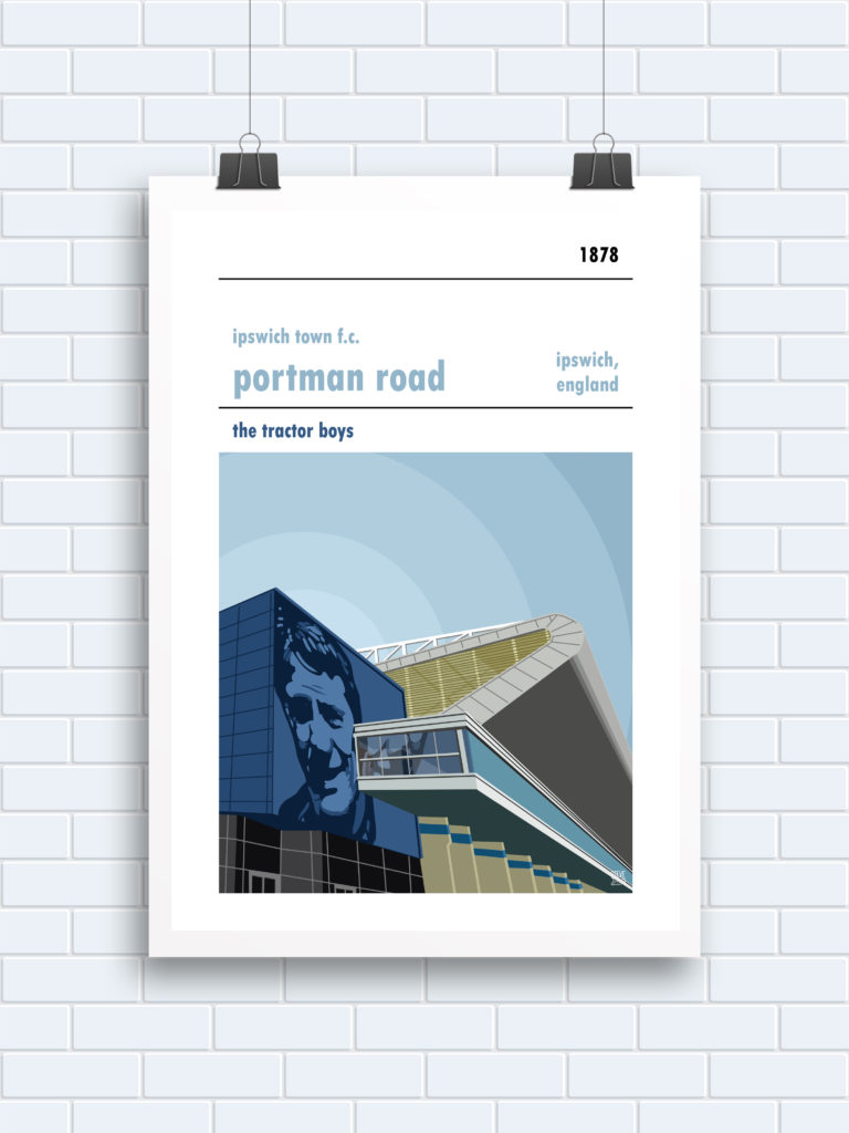 A Bobby Robson football print, showing Ipswich Town & Portman Road
