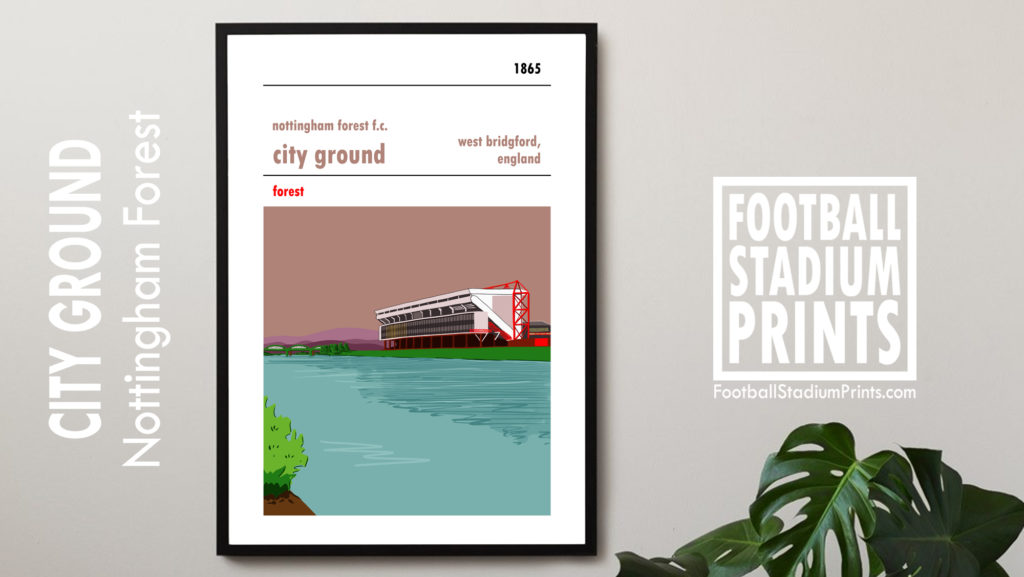 Framed Football Stadium Poster of Nottingham Forest FC and the City Ground.