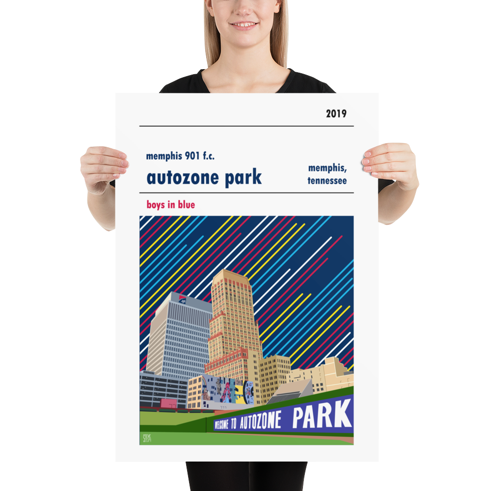 A stadium poster of Autozone Park, home to Memphis 901 FC