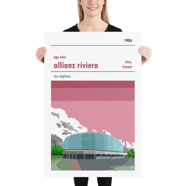 A large french football poster of OGC Nice and the Allianz Riviera