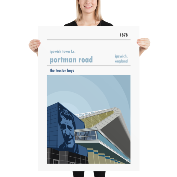 A huge football print of Portman Road, home to Ipswich Town. Features Bobby Robson
