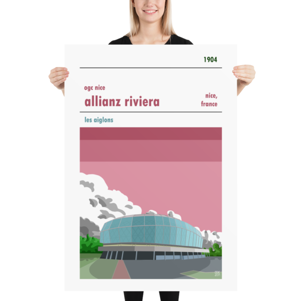 A huge poster of the Allianz Riviera, home to French football team OGC Nice