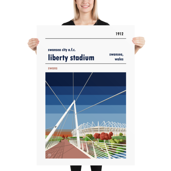 A huge football poster of Liberty Stadium, home to Swansea City FC