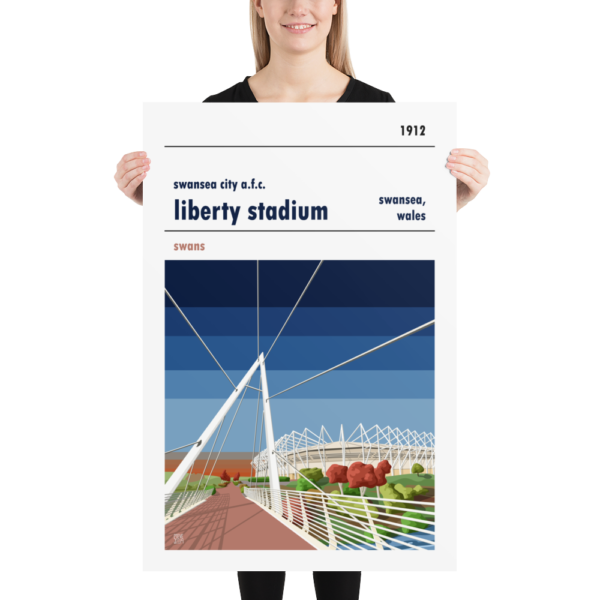 A large football print of Liberty Stadium, home to Swansea City AFC