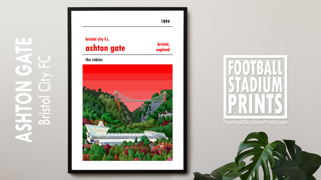 A framed print of Bristol City and Ashton Gate