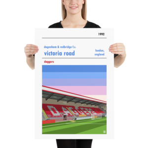 A football art poster of Dagenham and Redbridge and Victoria Road